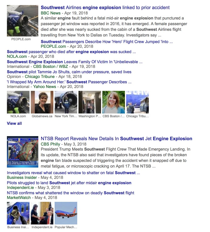 southwest airlines search results