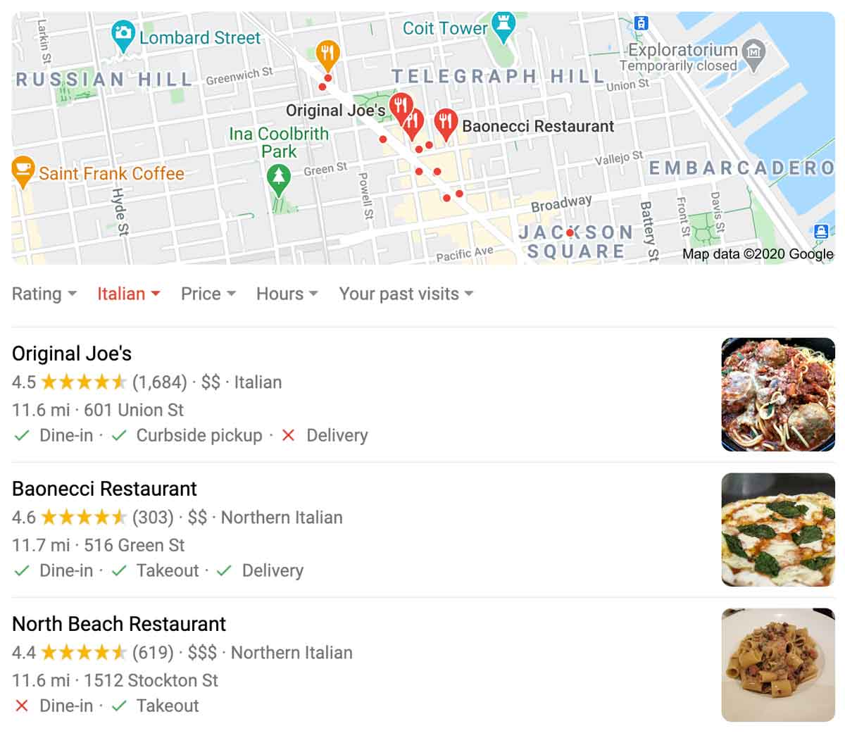 example of a google local 3 pack in search results
